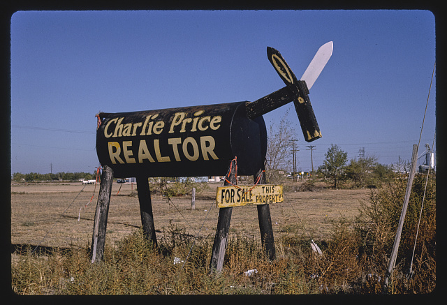 Charlie Pride Realtor donkey statue, Routes 62 & 82