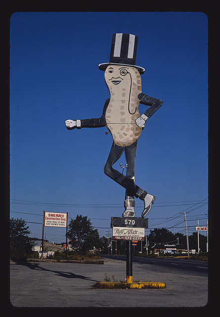 Mr. Peanut sign (Hair Affair sign), angle 1, Route 6, Swansea, Massachusetts