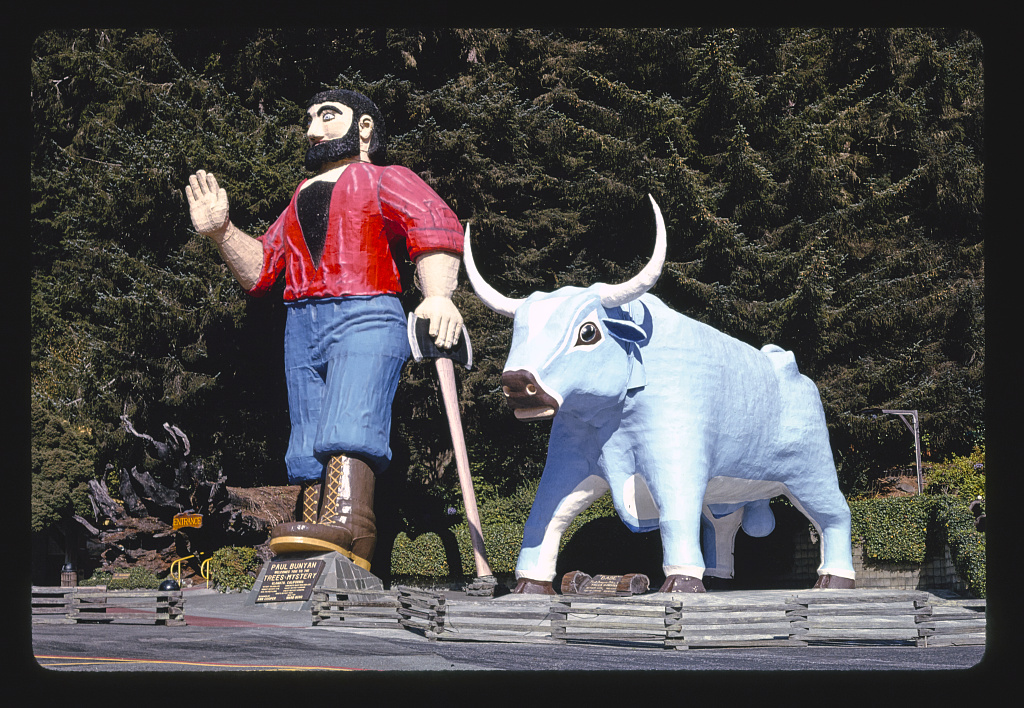 Paul Bunyan and Babe angle 1, Trees of Mystery, Route 101, Klamath, California