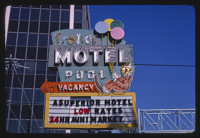 Frolics Motel sign, Route 1, Miami, Florida