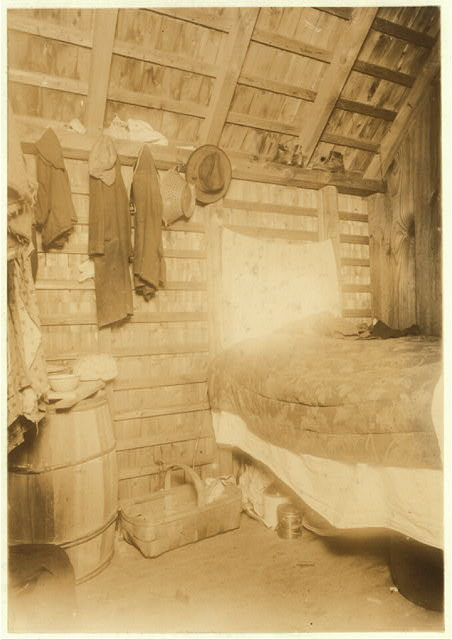 Room 75, Shanty 4, Cranberry pickers Paulo Biniristo and wife live here. Settlement called Rome, on Whites Bog, Browns Mills, N.J. 4 sons live in next room. Note the bread and other food lying around unprotected. Plenty of flies. E.F. Brown- Witness.  Location: Browns Mills, New Jersey.