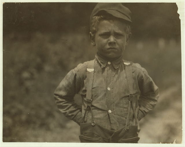 """I don't never git no rest."" This is the attitude that Henry, a six-year old beet worker takes toward life, on a Wisconsin farm. See Hine Report, Wisconsin Sugar Beet, July, 1915.  Location: Wisconsin."