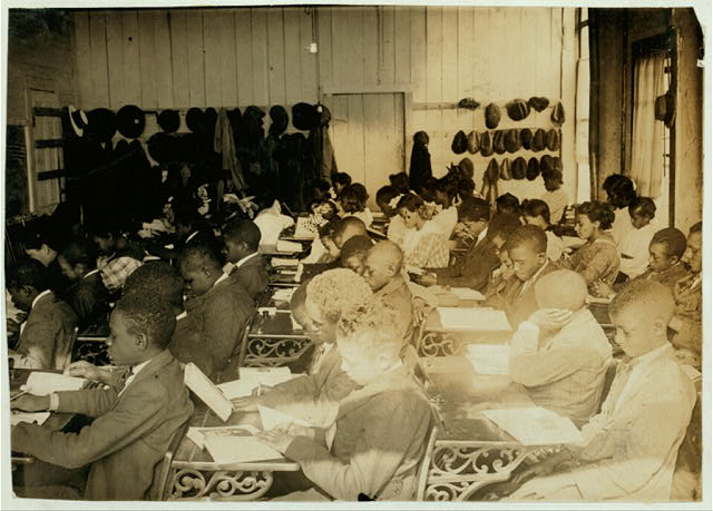 75 Sixth Grade children (colored) crowded into 1 small room in an old store building near Negro High School, with 1 teacher. See Bliss report.  Location: Muskogee, Oklahoma