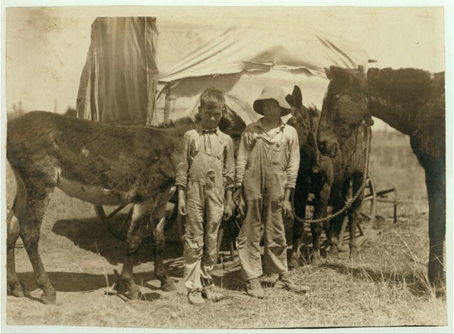 A pair of truants, tending their father's mules. Photo taken during school hours, near Oklahoma City. Boys are 9 and 11 yrs. old.  Location: Oklahoma City, Oklahoma.