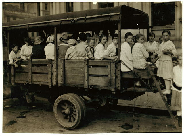 6:00 A.M. at Post Office Square. Truck load of tobacco workers bound for American Sumatra Tobacco Farm, S[outh] Windsor. They return about 7 P.M.  Location: Hartford, Connecticut