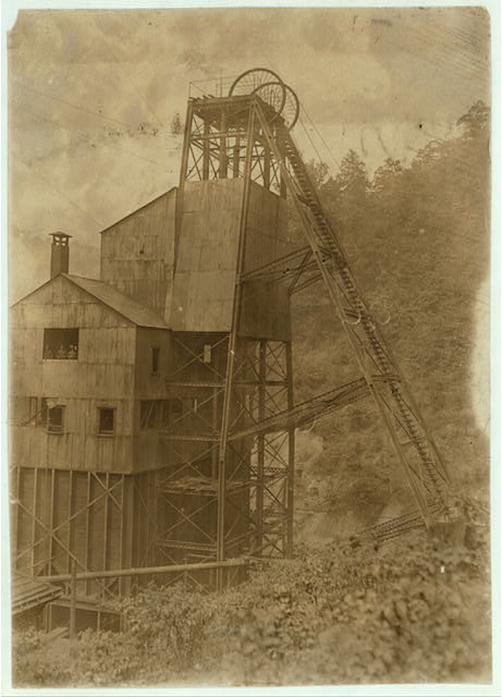 Tipple & Elevator into shaft. Leads down to mine 200 ft. below. Gary Mine. Do more work by machinery than any mine in the state, yet have boys to trap and drive. They stay underground over 10 hrs. a day. 7 A.M. to 5 P.M.  Location: Gary, West Virginia.
