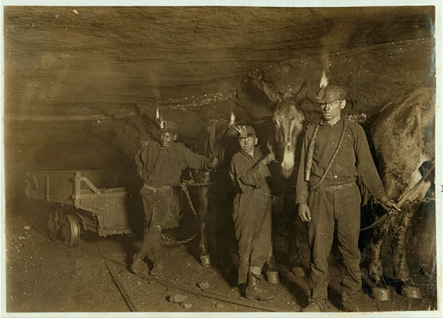 Drivers and Mules, Gary, W. Va., Mine, Where much of the mining and carrying is done by machinery.  Location: Gary, West Virginia.