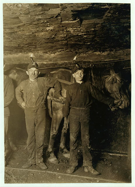 Drivers in a Coal Mine Co. Plenty boys driving and on tipple. No trappers used, as mine is ventilated by another system.  Location: West Virginia.