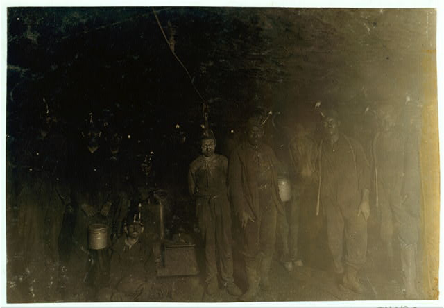 Group of Drivers and Trapper Boys: A Mile from Entrance, Turkey Knob Mine, Macdonald W. Va. Oct., 1908. Witness, E. N. Clopper.  Location: MacDonald, West Virginia.