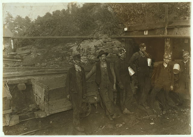 Group of Miners, Drivers and Trapper. Macdonald, W. Va., Mine. Oct., 1908. Witness E. N. Clopper.  Location: MacDonald, West Virginia.