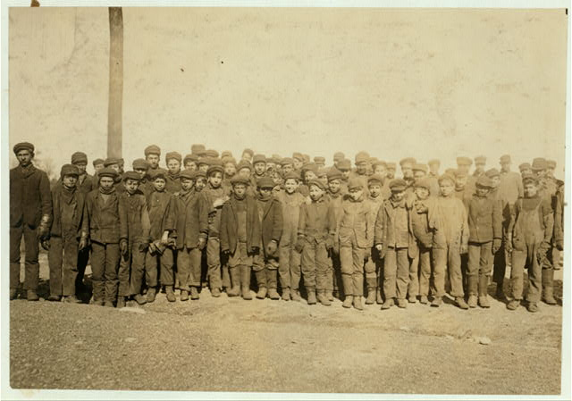 Group of boys working in #9 Breaker, Pennsylvania Coal Co., Hughestown Borough, Pittston, Pa. In this group were Sam Belloma, Pine Street, Angelo Ross, 142 Panama Street, and others (reported previously).  Location: Pittston, Pennsylvania.