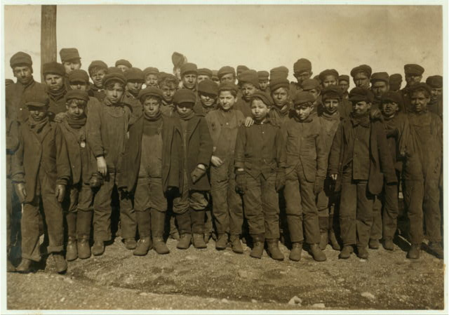 Group of boys working in #9 Breaker Pennsylvania Coal Co, Hughestown Borough, Pittstown, Pa. In this group were Sam Belloma, Pine Street, Angelo Ross, 142 Panama Street, and others (reported previously).  Location: Pittston, Pennsylvania.