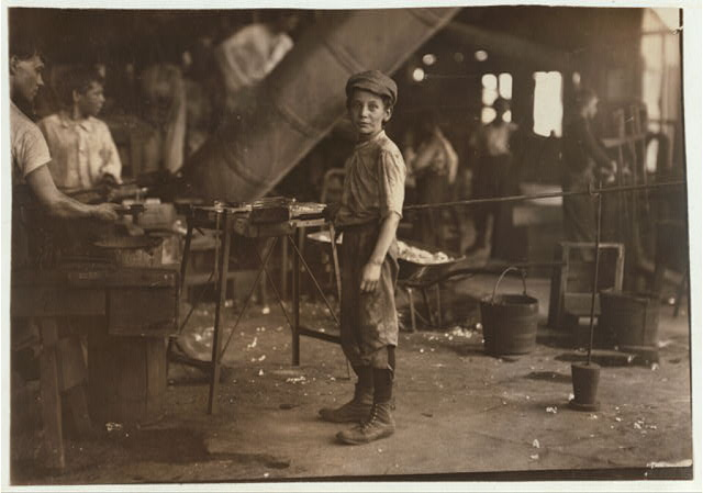 """""""Carrying-in"""" boy in Alexandria Glass Factory, Alexandria, Va. Works on day shift one week and night shift next week. See photo 2261.  Location: Alexandria, Virginia."""