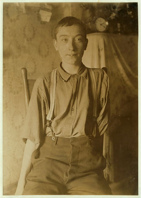 Harry McShane - 134 B'way [I,e, Broadway] -Cin. O. - 16 yrs. of age on June 29, 1908. Had his left arm pulled off near shoulder, and right leg broken through kneecap, by being caught on belt of a machine in Spring factory in May 1908. Had been working in factory more than 2 yrs. Was on his feet for first time after the accident, the day this photo was taken. No attention was paid by employers to the boy either at hospital or home according to statement of boy's father. No com- pensation.  Location: Cincinnati, Ohio.