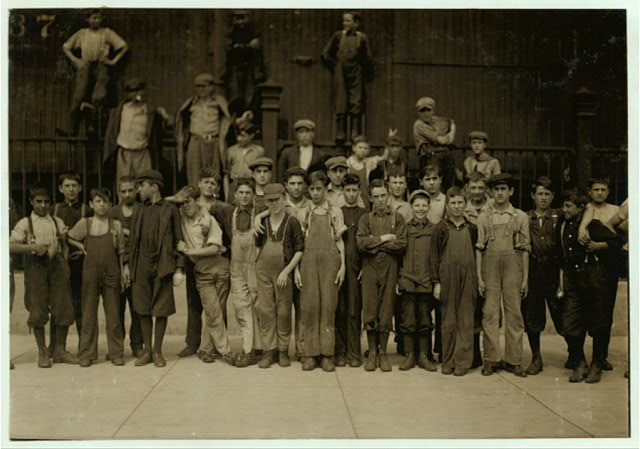 [All in photos worked (even smallest girl and boys) and they went to work at (noon) 12:45. Some of the following boys and girls mey be 14, many are not. John Gopen, 189 Elm St. Joseph Stonge, 73 King St. Billie Welch, 178 Union St. Tim Carroll, 310 Salem St. Michael Devine, 64 South Broadway. Jacob Black, 15 Bradford Bl. Binnie Greenfield, 281 Park St. Andrew Pomeroy, 76 South Broadway. Louis Gross, 39 Myrtle St. Arthur Davois, 244 Salem St. Joseph Latham[?], 165 Willow St. Salvatore Quatirtto, 48 Union St. Sam Gangi, 82 Pleasant Valley St.These two boys were about the youngest of the boys, others nearly as young.]  Location: Lawrence, Massachusetts.