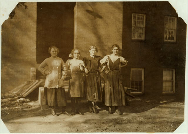 Group of workers in the Dwight Mfg. Co. Sophie Motralske, (smallest girl), 3 Lawrence Rd. Works in spinning room.  Location: Chicopee, Massachusetts.
