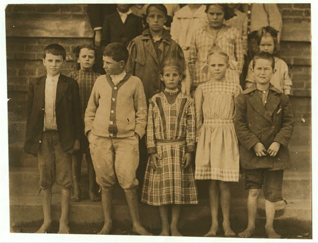 "A group of school children in the third and fourth grades of the Cowpens, S.C., School. All in the front row are 9 and 10 years old (compare these with the little children shown in #2970-75.) The principal said only one out of 10 in the school were mill children (and he was not apparently very anxious that they should be) ""The mill is only a small part of the village.""  Location: Cowpens, South Carolina."
