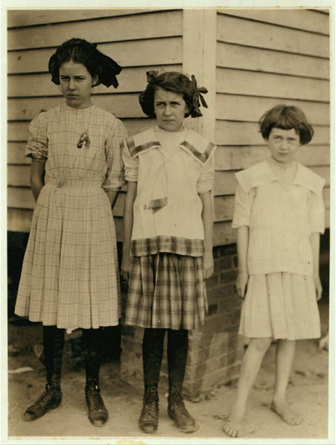 Maud Cheek one of the young spinners in the Drayton Mill, Spartenberg [sic], S.C., runs 7 sides. Worked in another mill before she came here. Maud's two sisters Blanche and Grace all in the spinning room with her. Father did not appear to be working.  Location: Spartanburg, South Carolina.