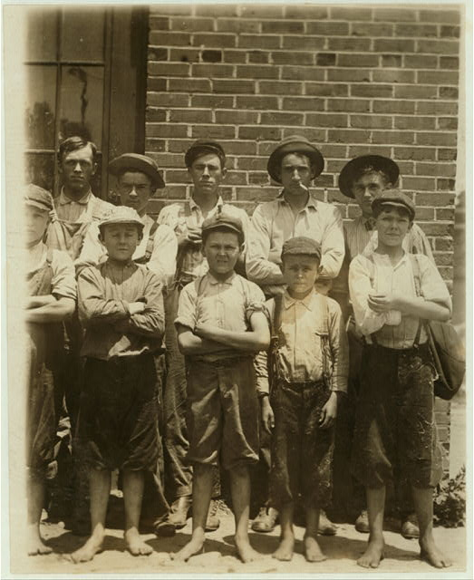 Some of the youngsters working in Belton Mfg. Co., Belton, S.C. Two of the youngest and J. Henderson. Kelly Street. Percy Morrison, Eugene Simper.  Location: Belton, South Carolina.