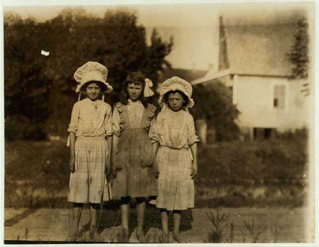3 year old spinner in the Belton S.C. Mills. Cornelia and James Wilson are twins. The third pair in family. The mother said the family record was not kept but have heard that they were 12 years old. A question. Father is a farmer. 5 children in the mill. Girl in the middle is Eva McCoy. Family record May 25, 1912. (Said 13 years.)  Location: Belton, South Carolina.