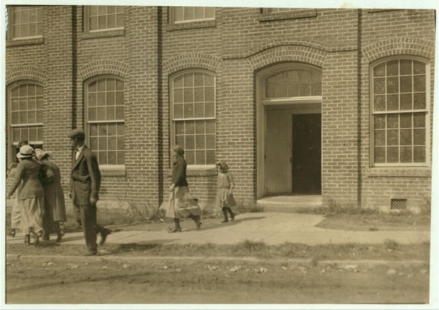 "Some samples (not all) of the children in the ""Kindergarten Factory"" run by the High Point and Piedmont Hosiery Mills, High Point, N.C. Every child in these photos worked: I saw them at work and I saw them go in to work at 6:30 A.M. and noons and out at 6 P.M. One morning I counted 22 of these little ones (12 years and under) going to work at about 6:15 A.M. Some of them told me their ages: 1 boy said 8 yrs. (worked when he was 7). 1 girl said 10 yrs. (apparently 7). 3 other girls said 10 yrs. 2 boys said 10 yrs. (1 got $3.00 a week). 1 boy said 11 yrs. 2 boys said 12 yrs. (1 said he makes $1. a day). (See also report.)  Location: High Point, North Carolina."