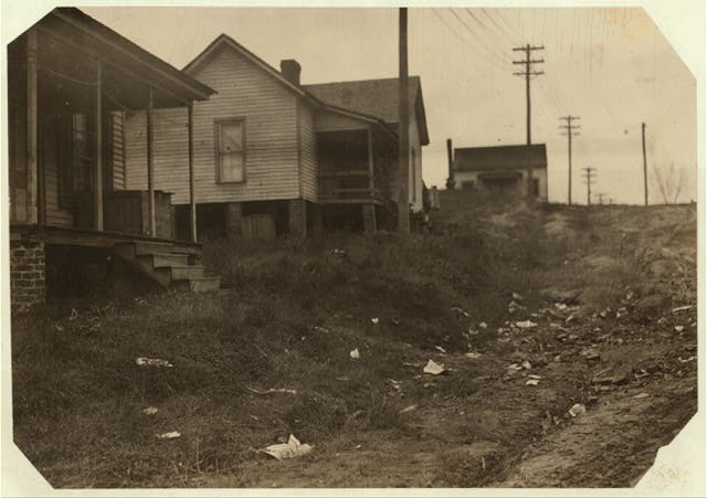 "Some of the housing conditions of the workers in the Cannon Mills, Concord, N.C., to contrast with the homes and gardens some times shown from the ""show mills"" of the state.  Location: Concord, North Carolina."