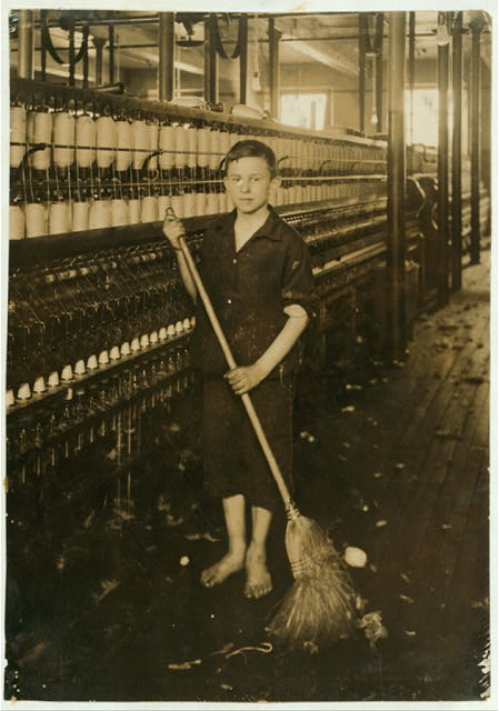 Cleaner and Sweeper - Spinning Department of American Linen Co.  Location: Fall River, Massachusetts