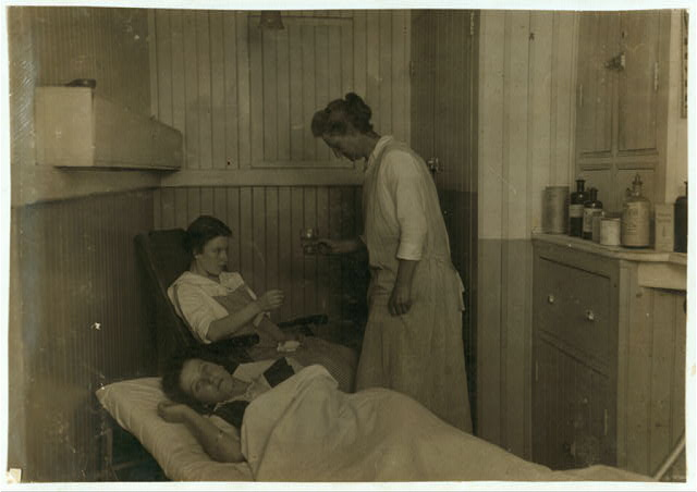 1st Aid- Kerr Thread. Rest room - one step beyond the emergency box. Doctor who can be called. Are enlarging this to a small hospital room. 17 year old workers. Not a trained nurse but gives full time and understands practical nursing. That morning wasn't a busy morning - had had eight. Some mornings fifteen to twenty. Mr. Kerr thought it a fine thing for girls and for mill - saving days off.  Location: Fall River, Massachusetts