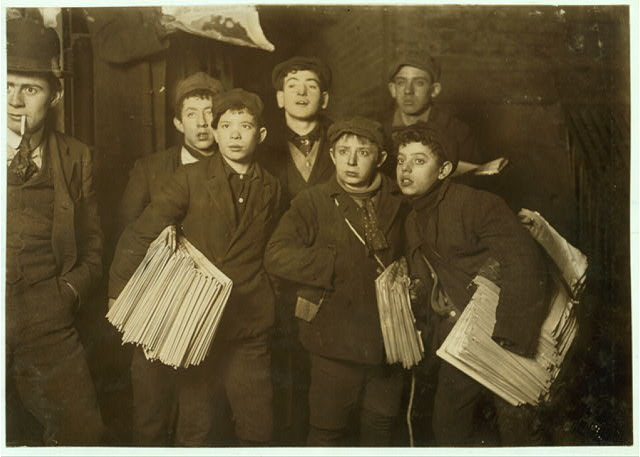 Group of Newsboys on Frankfort Street near World Building.  Witness, Fred McMurrry.  Location: New York, New York (State)