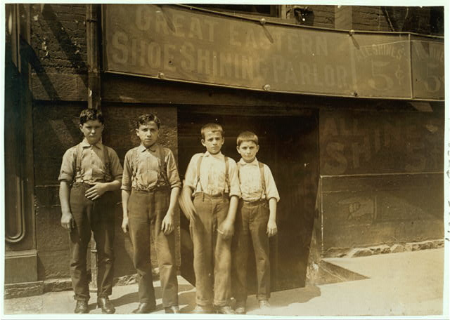 Greek Bootblacks in Indianapolis. (Same boys as in #64.) Aug., 1908. Wit., E. N. Clopper.  Location: Indianapolis, Indiana.