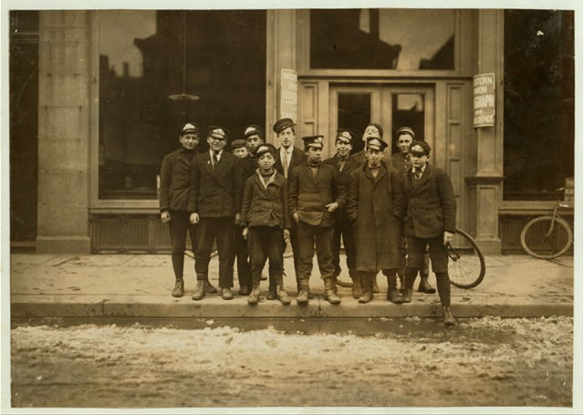 New Haven, Conn. March 8, 1909. Messenger boys. They work until 11 P.M.  Location: New Haven, Connecticut.