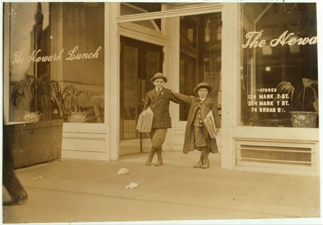 Max Schwartz (8 yrs. old) and Jacob Schwartz, 163 Howard St., Newark, N.J. Sell until 10 P.M. sometimes.  Location: Newark, New Jersey.