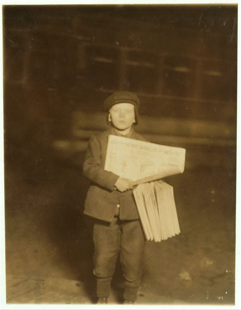 Stanley Fozurowski, 9 years old. Selling papers at 9:30 P.M. Dec. 21st, 1909. Jersey City.  Location: Jersey City, New Jersey.