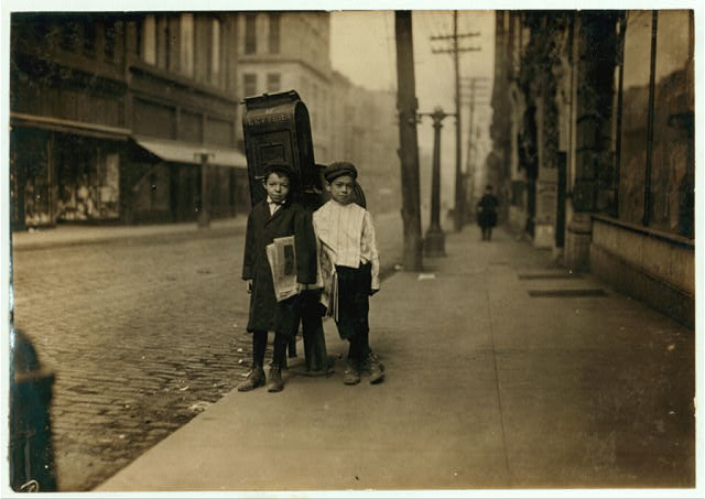 Two 7 year old Nashville newsies, profane and smart, selling Sunday.  Location: Nashville, Tennessee.