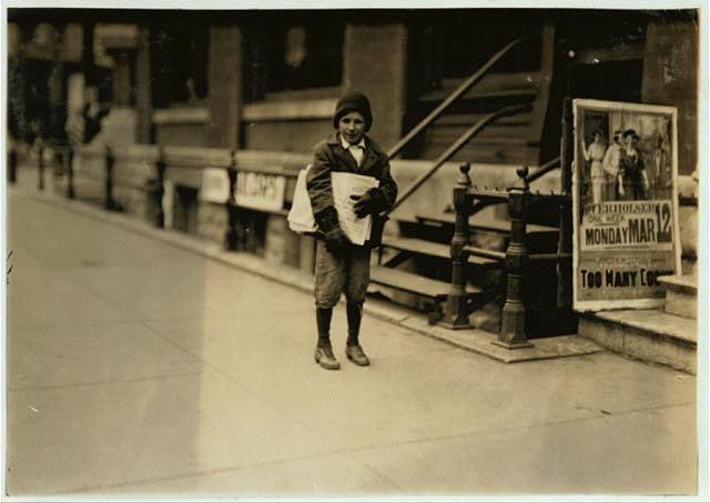 "10-year-old truant newsie, selling during school hours Said: ""I been sich [i.e., sick] with pneumonia"".  Location: Oklahoma City, Oklahoma"