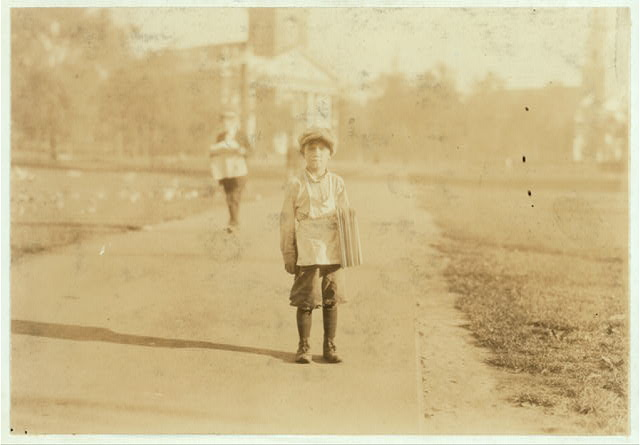 """The newsboy, """"Jackie Coogan"""" of Hartford, Conn. One of the youngest. Aug. 26, 1924.  Location: Hartford, Connecticut."""