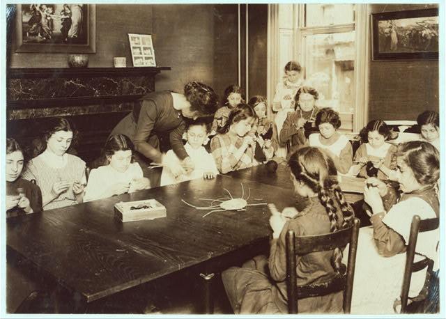Knitting class, Henry Street Settlement.  Location: New York, New York (State)