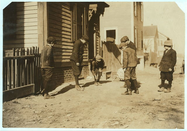 (For Child Welfare Exhibit 1912-13.) Shooting craps, Providence, R.I.  Location: Providence, Rhode Island.