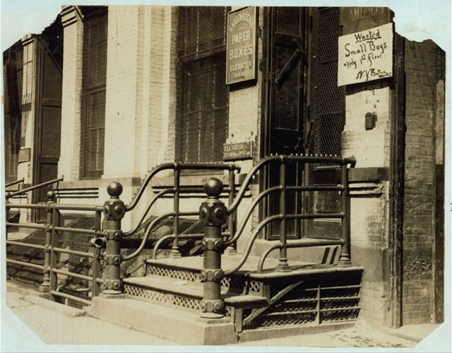 """Boy Wanted"" sign. West 19[th] Street.  Location: New York, New York (State)"