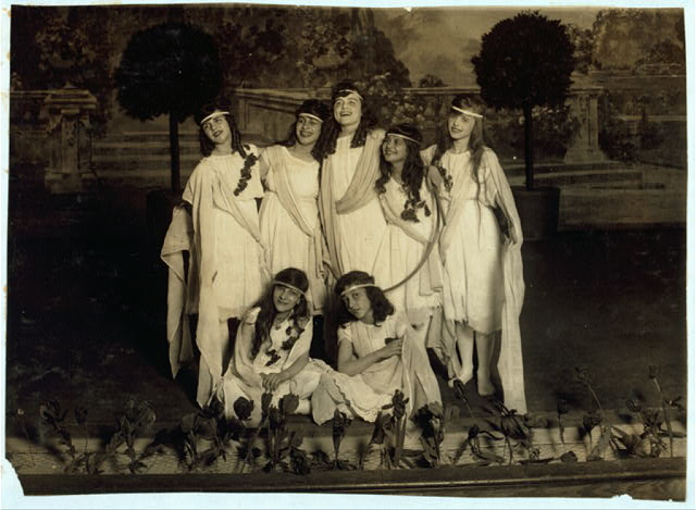 "[Children of the Sunshine with ""Play"". L.W. Hine. [#4140: Miss Mackay's Pageant Children of Sunshine and Shadow as presented at Washington Irving High School.]  Location: New York, New York (State)"