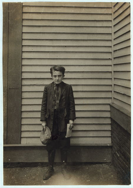 [Louis Pelissier, 29 8th St., 16 year old (May 16, 1916) applicant 2nd grade - deficient mentality. Doesn't know name of place where he is going to work. Made it out for Small's mill, they weren't sure. Had been a sweeper but work was too hard for him. Didn't know how much he was to get. (Miss Smith to see what kind of card he got.) Worked at Union Mill, $3.27, as a sweeper.]  Location: Fall River, Massachusetts.