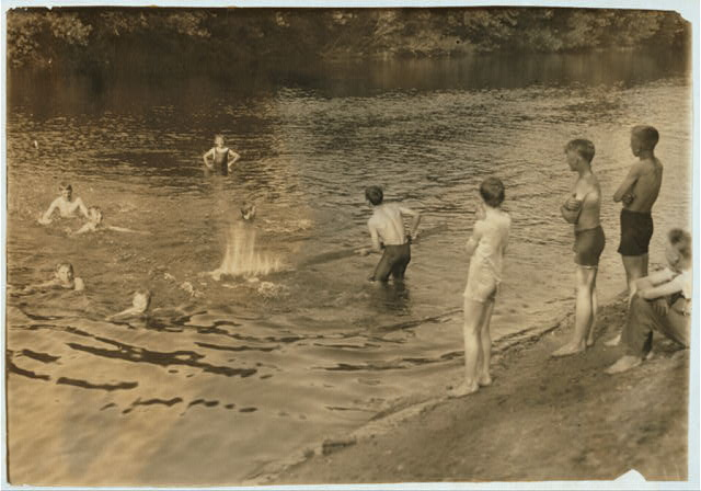 [The Swimming Hole. Group of boys - 14 to 16 years - just returned from working in tobacco at Southwick, Mass., on Galpin's farm.]  Location: Westfield, Massachusetts.