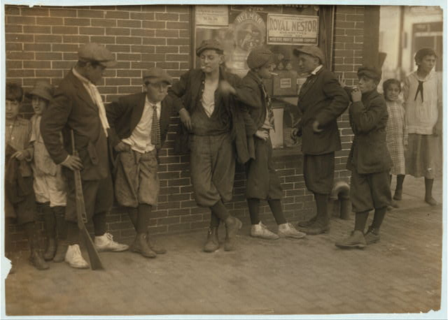 [Street gang - cor[ner] Margaret & Water Streets - 4:30 P.M.]  Location: Springfield, Massachusetts.