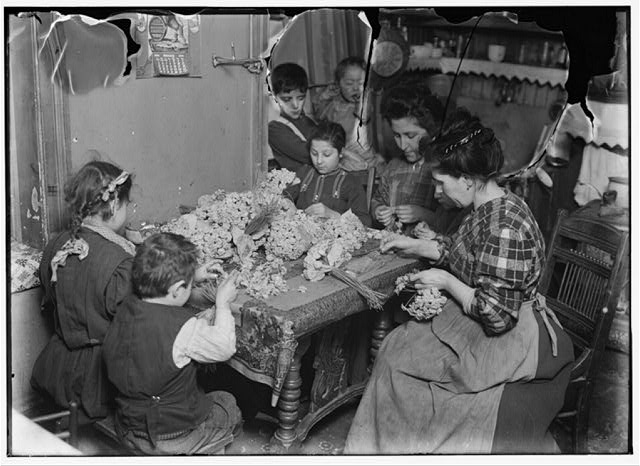 Artificial flower making at 8 cents a gross. Youngest child working is 5 years old. Location: New York, New York (State)