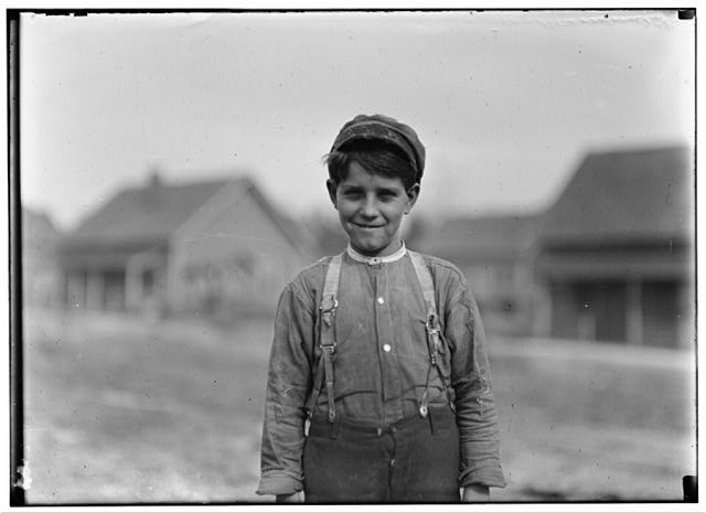 Rush Merrill, Loray Mill, Gastonia, N.C. 12 years old. Been in mill 3 years Doffer. Gets 75 cents a day. Said sometimes gets 3 to 5 hours a day resting between times.  Location: Gastonia, North Carolina.