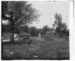 [Cannons, monument, and cabin at Chickamauga and Chattanooga National Military Park]