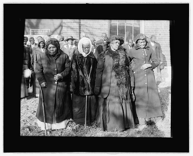 [Convention of former slaves, left to right: unidentified, Anna Angales, Elizabeth Berkeley, and Sadie Thompson. Washington, D.C.]