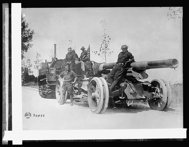 American 158 MM gun on way to front