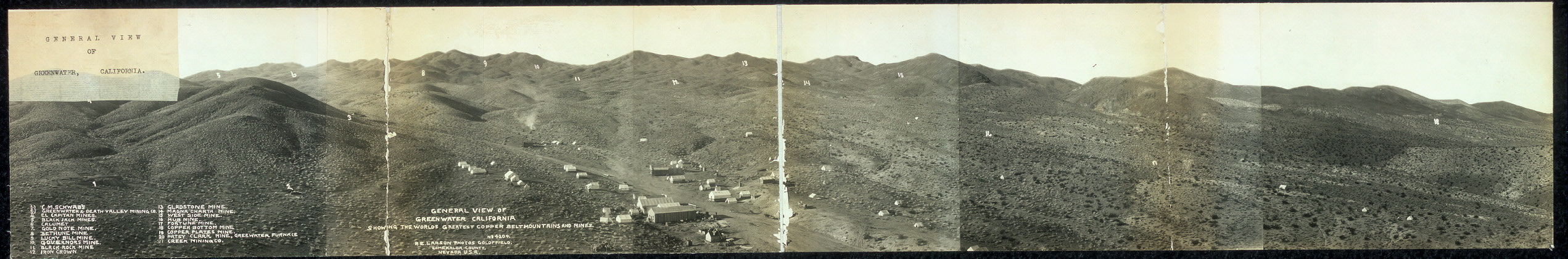 General view of Greenwater, California, showing the world's greatest copper belt, mountains and mines