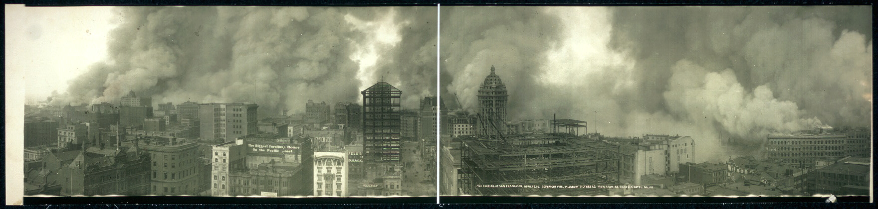 The burning of San Francisco, April 18, [19]06, view from St. Francis Hotel